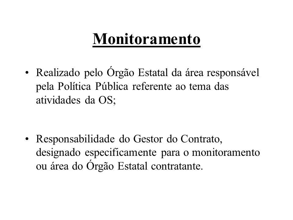 Monitoramento Realizado pelo Órgão Estatal da área responsável pela Política Pública referente ao tema das atividades da OS; Responsabilidade do Gesto
