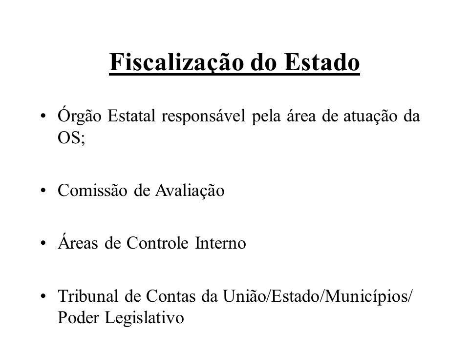 Fiscalização do Estado Órgão Estatal responsável pela área de atuação da OS; Comissão de Avaliação Áreas de Controle Interno Tribunal de Contas da União/Estado/Municípios/ Poder Legislativo