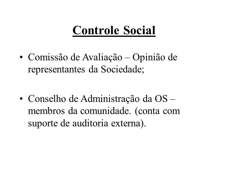 Controle Social Comissão de Avaliação – Opinião de representantes da Sociedade; Conselho de Administração da OS – membros da comunidade.