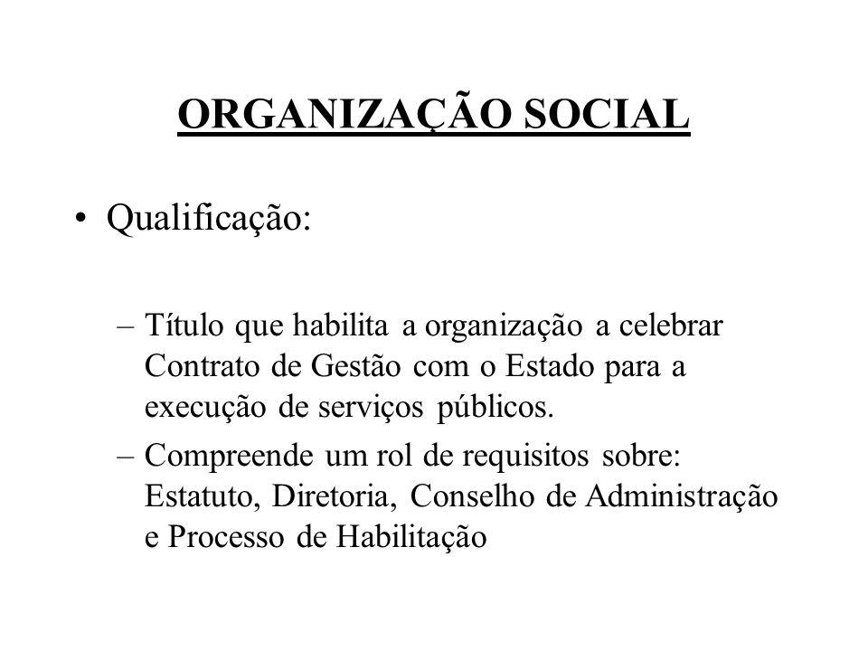 ORGANIZAÇÃO SOCIAL Qualificação: –Título que habilita a organização a celebrar Contrato de Gestão com o Estado para a execução de serviços públicos. –