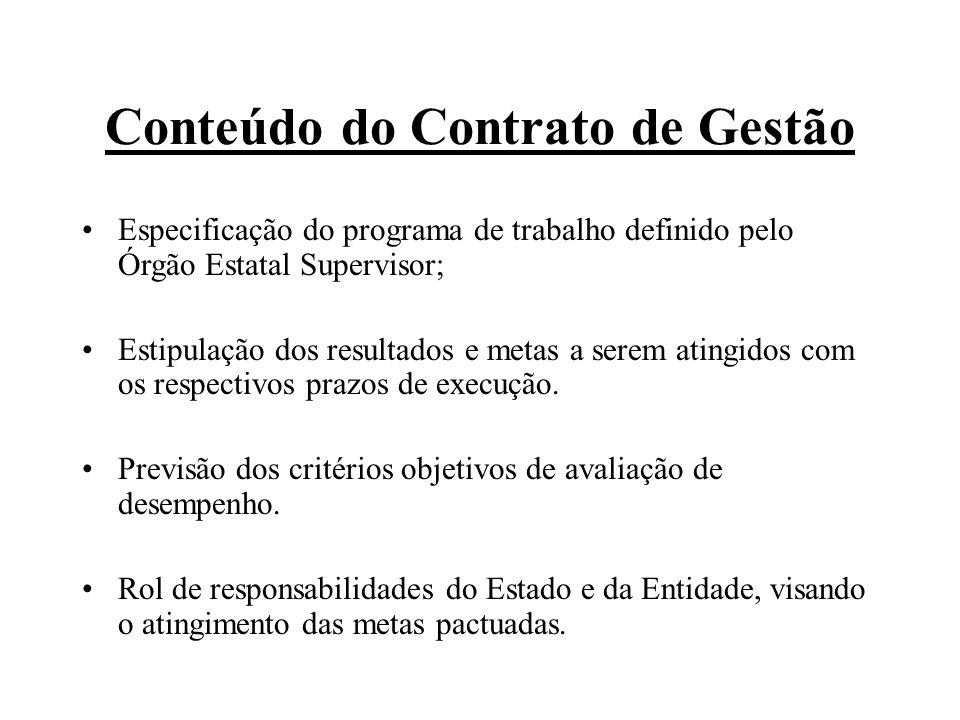 Conteúdo do Contrato de Gestão Especificação do programa de trabalho definido pelo Órgão Estatal Supervisor; Estipulação dos resultados e metas a serem atingidos com os respectivos prazos de execução.