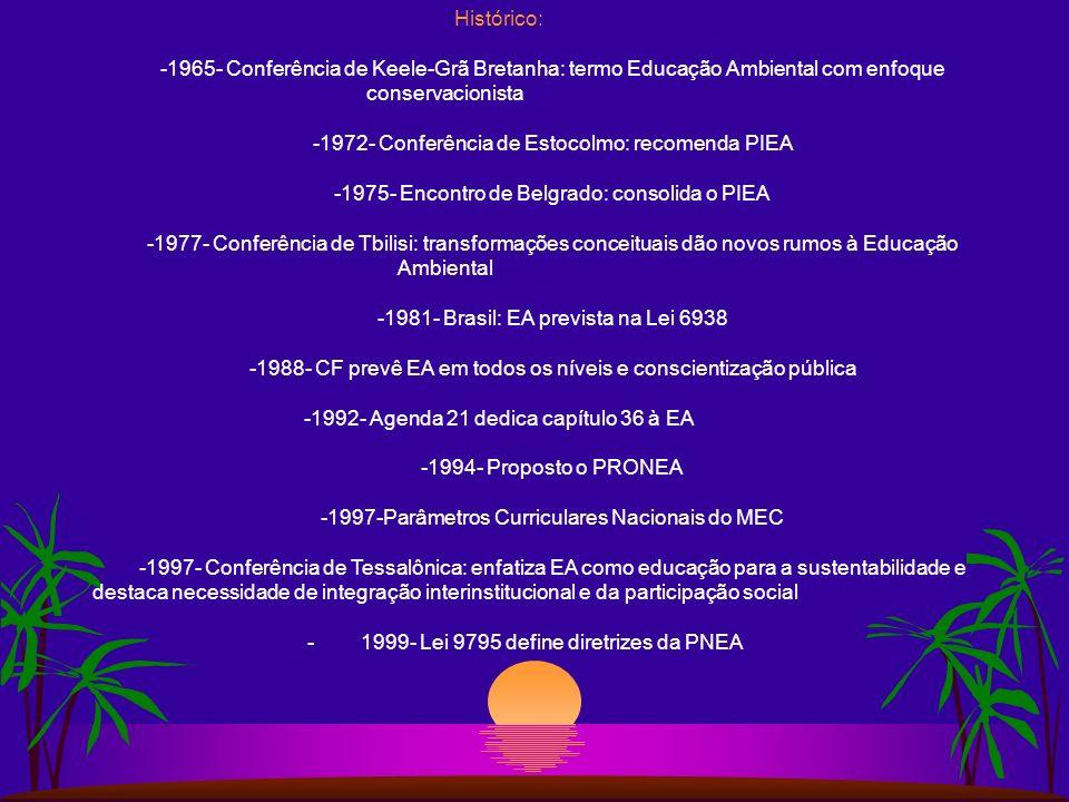Conceito de Educação Ambiental Processo educacional transdisciplinar que visa ao desenvolvimento da consciência ambiental do indivíduo determinando mu