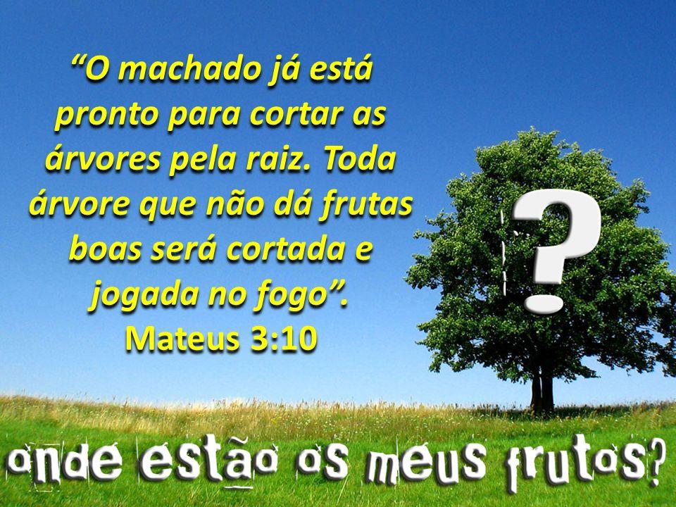 O machado já está pronto para cortar as árvores pela raiz. Toda árvore que não dá frutas boas será cortada e jogada no fogo. Mateus 3:10 O machado já