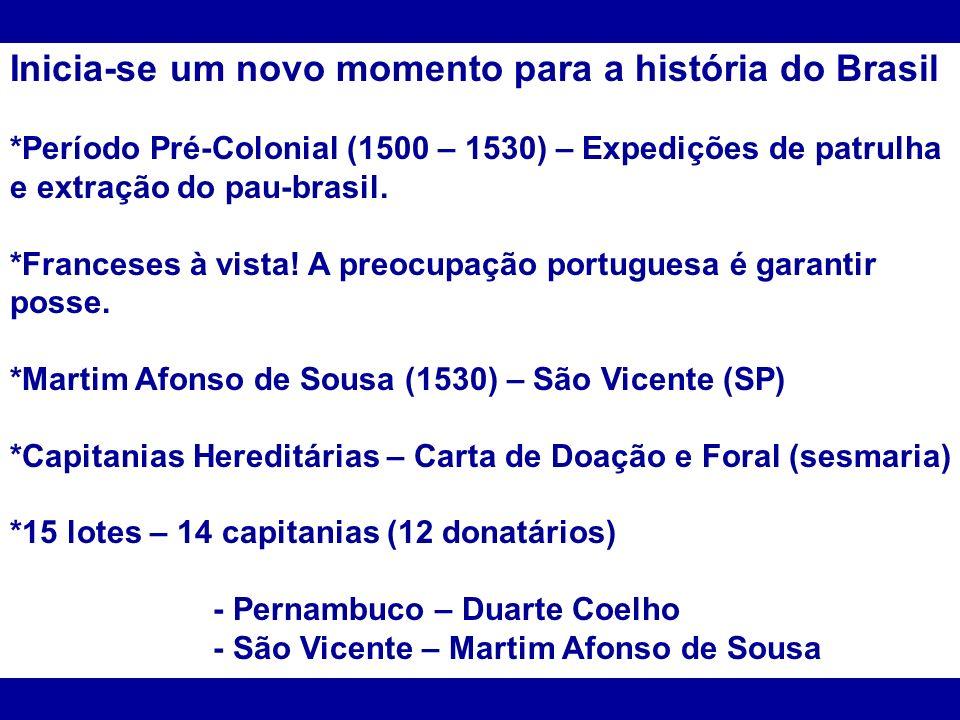 Inicia-se um novo momento para a história do Brasil *Período Pré-Colonial (1500 – 1530) – Expedições de patrulha e extração do pau-brasil. *Franceses