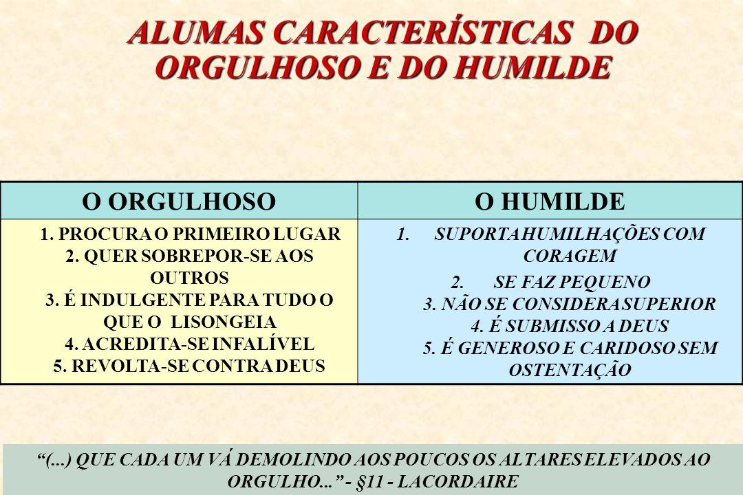 ALUMAS CARACTERÍSTICAS DO ORGULHOSO E DO HUMILDE O ORGULHOSOO HUMILDE 1. PROCURA O PRIMEIRO LUGAR 2. QUER SOBREPOR-SE AOS OUTROS 3. É INDULGENTE PARA