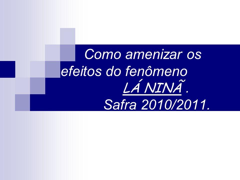Como amenizar os efeitos do fenômeno LÁ NINÃ. Safra 2010/2011.