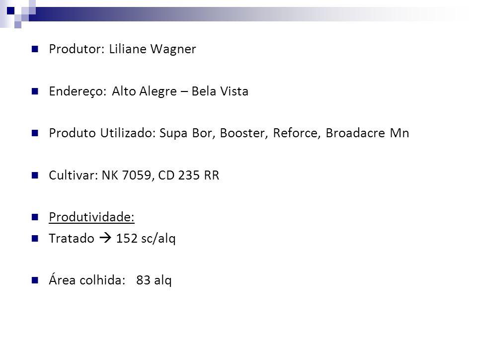 Produtor: Liliane Wagner Endereço: Alto Alegre – Bela Vista Produto Utilizado: Supa Bor, Booster, Reforce, Broadacre Mn Cultivar: NK 7059, CD 235 RR P