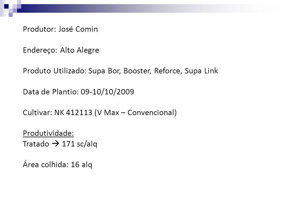 Produtor: José Comin Endereço: Alto Alegre Produto Utilizado: Supa Bor, Booster, Reforce, Supa Link Data de Plantio: 09-10/10/2009 Cultivar: NK 412113
