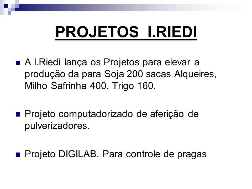 PROJETOS I.RIEDI A I.Riedi lança os Projetos para elevar a produção da para Soja 200 sacas Alqueires, Milho Safrinha 400, Trigo 160. Projeto computado