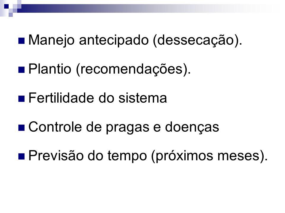 Manejo antecipado (dessecação). Plantio (recomendações). Fertilidade do sistema Controle de pragas e doenças Previsão do tempo (próximos meses).
