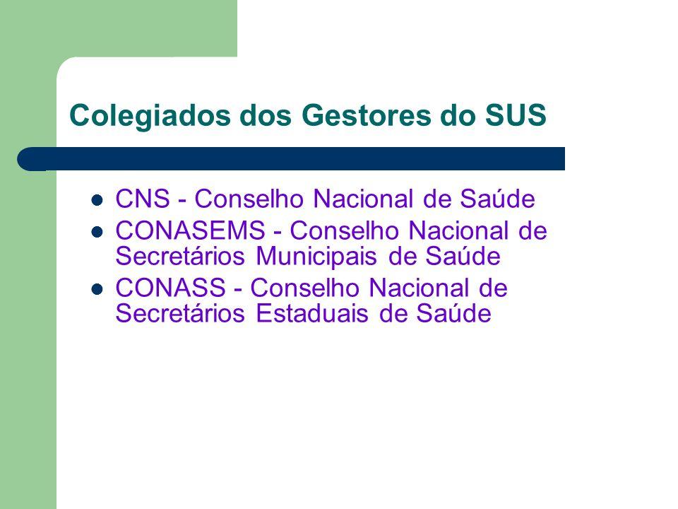 CNS - Conselho Nacional de Saúde CONASEMS - Conselho Nacional de Secretários Municipais de Saúde CONASS - Conselho Nacional de Secretários Estaduais d