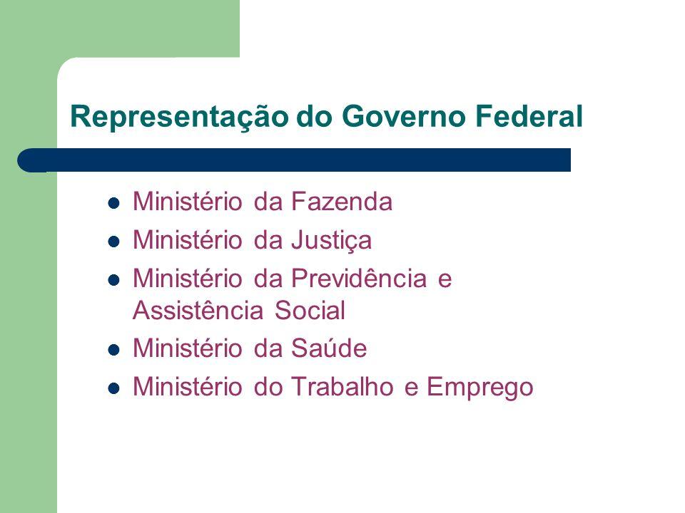 Ministério da Fazenda Ministério da Justiça Ministério da Previdência e Assistência Social Ministério da Saúde Ministério do Trabalho e Emprego Repres