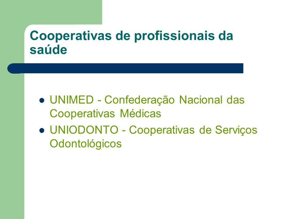 UNIMED - Confederação Nacional das Cooperativas Médicas UNIODONTO - Cooperativas de Serviços Odontológicos Cooperativas de profissionais da saúde