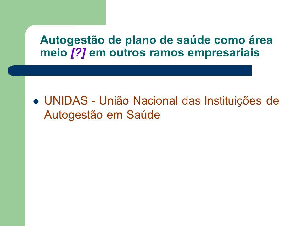 UNIDAS - União Nacional das Instituições de Autogestão em Saúde Autogestão de plano de saúde como área meio [?] em outros ramos empresariais