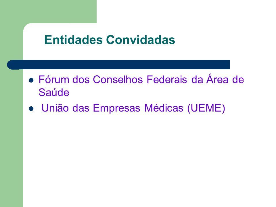 Entidades Convidadas Fórum dos Conselhos Federais da Área de Saúde União das Empresas Médicas (UEME)