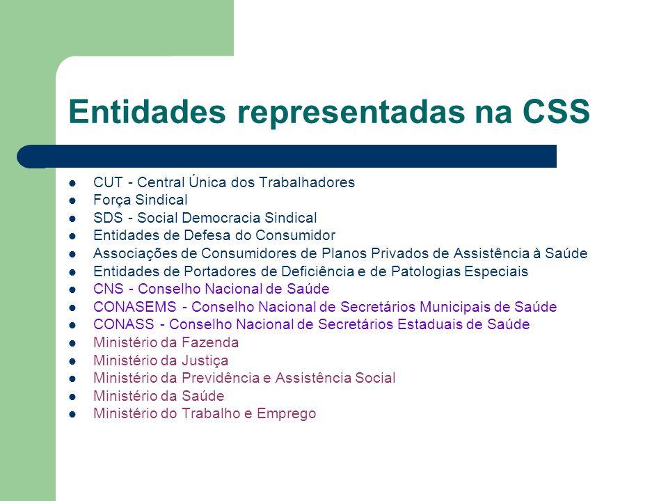 Entidades representadas na CSS CUT - Central Única dos Trabalhadores Força Sindical SDS - Social Democracia Sindical Entidades de Defesa do Consumidor