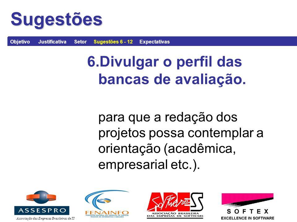 Associação das Empresas Brasileiras de TISugestões 6.Divulgar o perfil das bancas de avaliação.