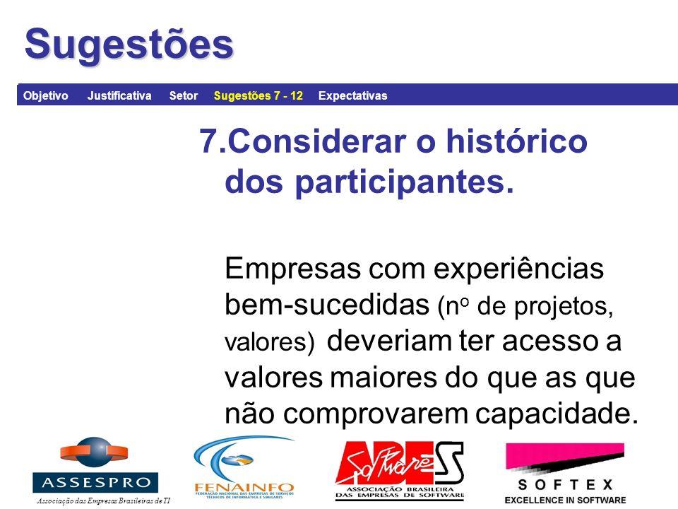 Associação das Empresas Brasileiras de TISugestões 7.Considerar o histórico dos participantes.