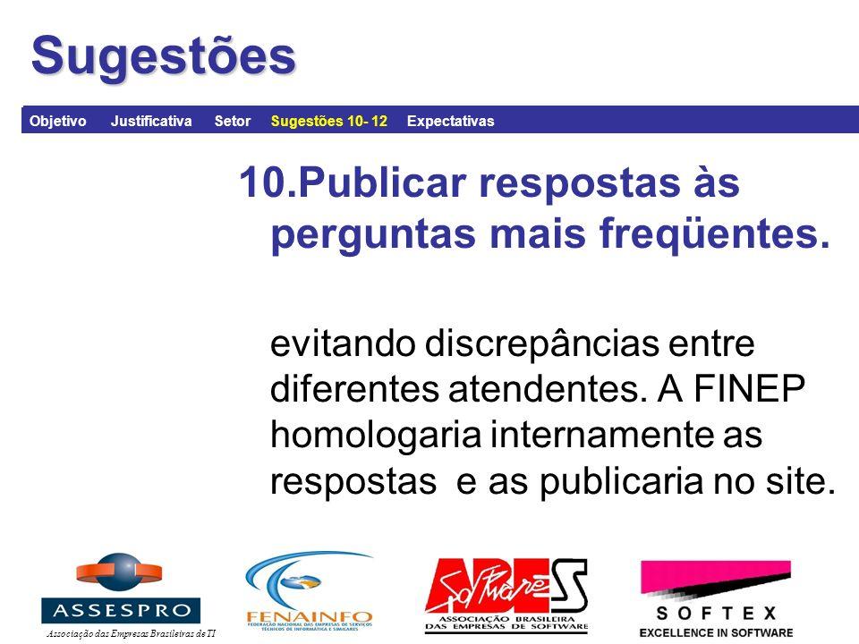 Associação das Empresas Brasileiras de TI 10.Publicar respostas às perguntas mais freqüentes.