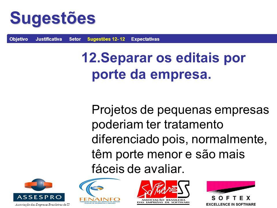 Associação das Empresas Brasileiras de TISugestões 12.Separar os editais por porte da empresa.