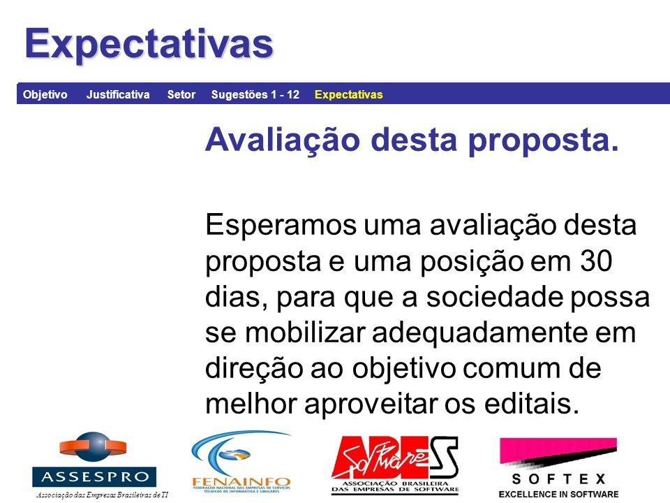 Associação das Empresas Brasileiras de TIExpectativas Avaliação desta proposta.
