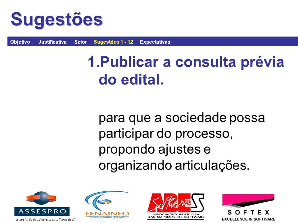 Associação das Empresas Brasileiras de TISugestões 1.Publicar a consulta prévia do edital.