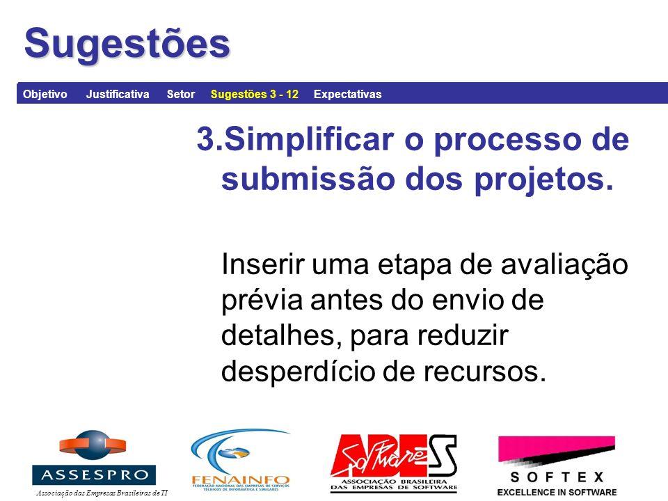 Associação das Empresas Brasileiras de TISugestões 3.Simplificar o processo de submissão dos projetos.