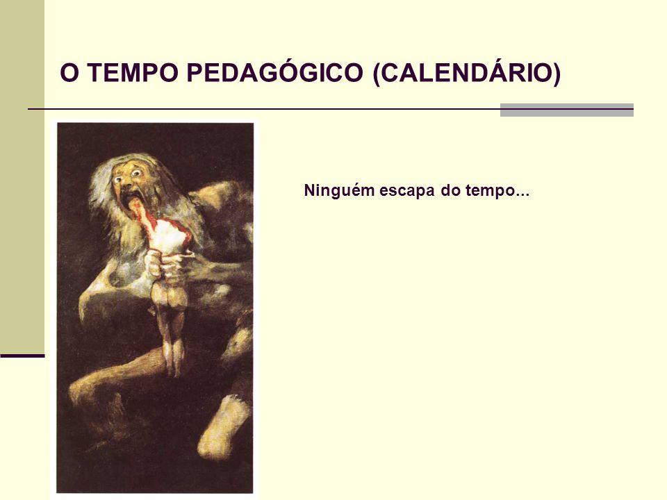 O TEMPO PEDAGÓGICO (CALENDÁRIO) Ninguém escapa do tempo...