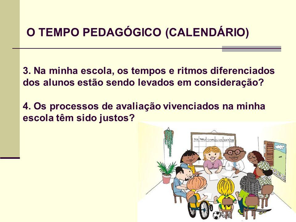 O TEMPO PEDAGÓGICO (CALENDÁRIO) 3. Na minha escola, os tempos e ritmos diferenciados dos alunos estão sendo levados em consideração? 4. Os processos d