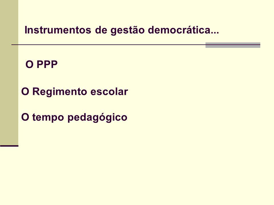 Instrumentos de gestão democrática... O PPP O Regimento escolar O tempo pedagógico