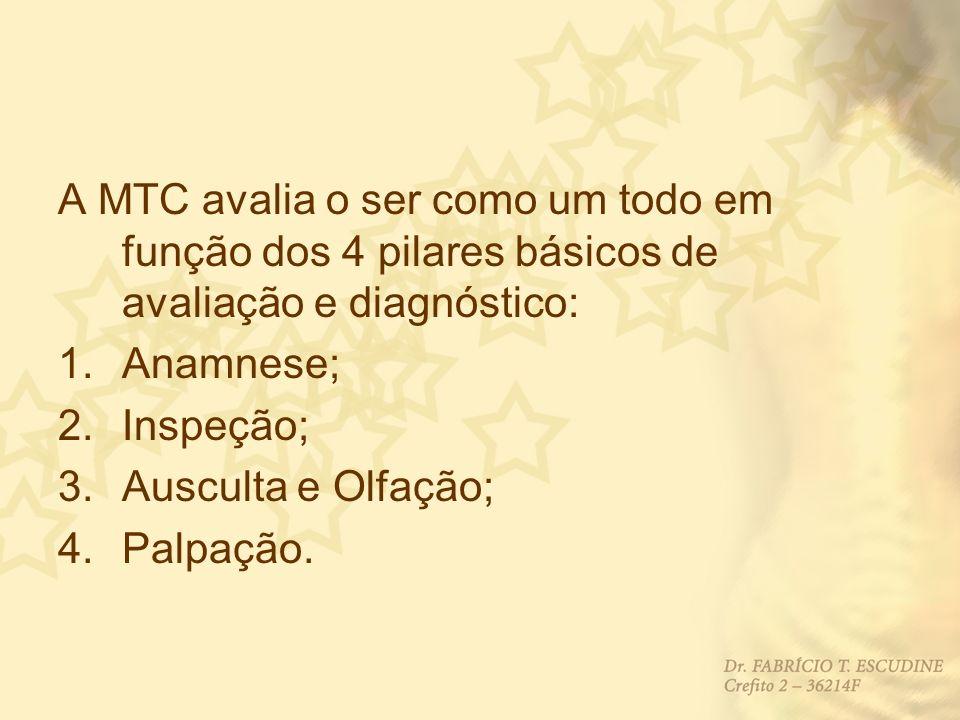 A MTC avalia o ser como um todo em função dos 4 pilares básicos de avaliação e diagnóstico: 1.Anamnese; 2.Inspeção; 3.Ausculta e Olfação; 4.Palpação.