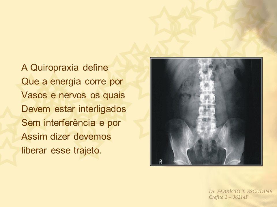 A Quiropraxia define Que a energia corre por Vasos e nervos os quais Devem estar interligados Sem interferência e por Assim dizer devemos liberar esse
