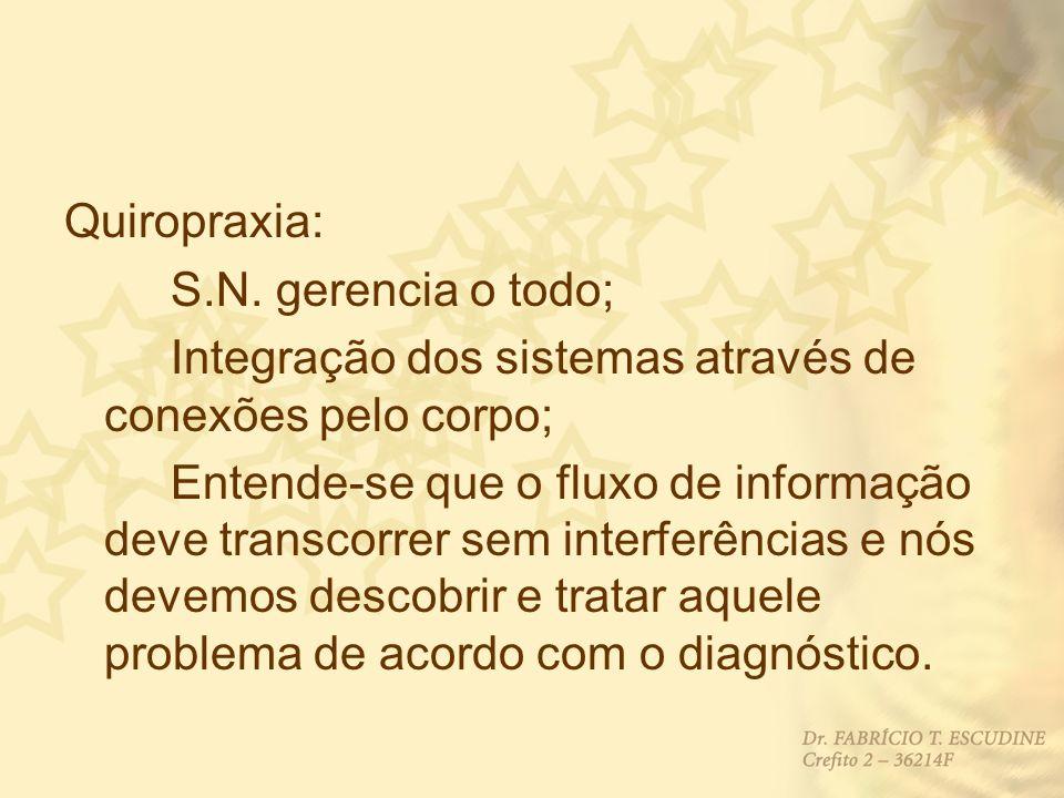 Quiropraxia: S.N. gerencia o todo; Integração dos sistemas através de conexões pelo corpo; Entende-se que o fluxo de informação deve transcorrer sem i