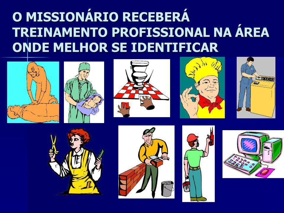 O MISSIONÁRIO RECEBERÁ TREINAMENTO TEOLÓGICO TEOLÓGICO MISSIOLÓGICO MISSIOLÓGICO OCUPACIONAL OCUPACIONAL PROFISSIONAL PROFISSIONAL