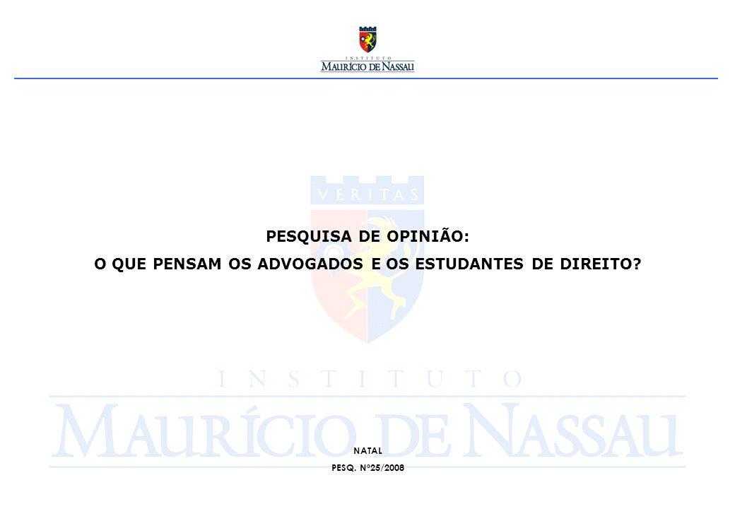 ESPECIFICAÇÕES TÉCNICAS DA PESQUISA: OBJETIVO: Investigar a opinião dos participantes da XX Conferência dos Advogados – NATAL-RN/2008.