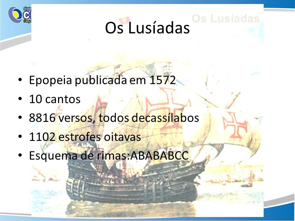 Os Lusíadas Epopeia publicada em 1572 10 cantos 8816 versos, todos decassílabos 1102 estrofes oitavas Esquema de rimas:ABABABCC