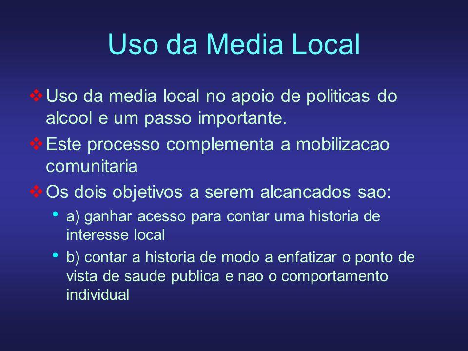 Uso da Media Local Uso da media local no apoio de politicas do alcool e um passo importante. Este processo complementa a mobilizacao comunitaria Os do