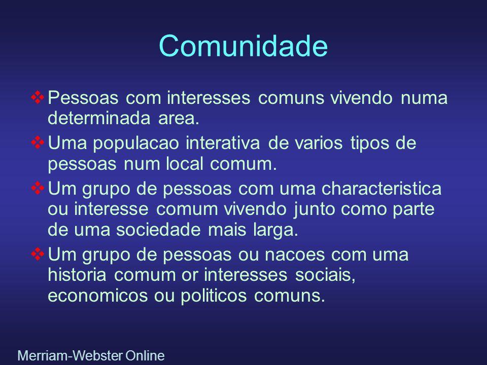 Comunidade Pessoas com interesses comuns vivendo numa determinada area. Uma populacao interativa de varios tipos de pessoas num local comum. Um grupo