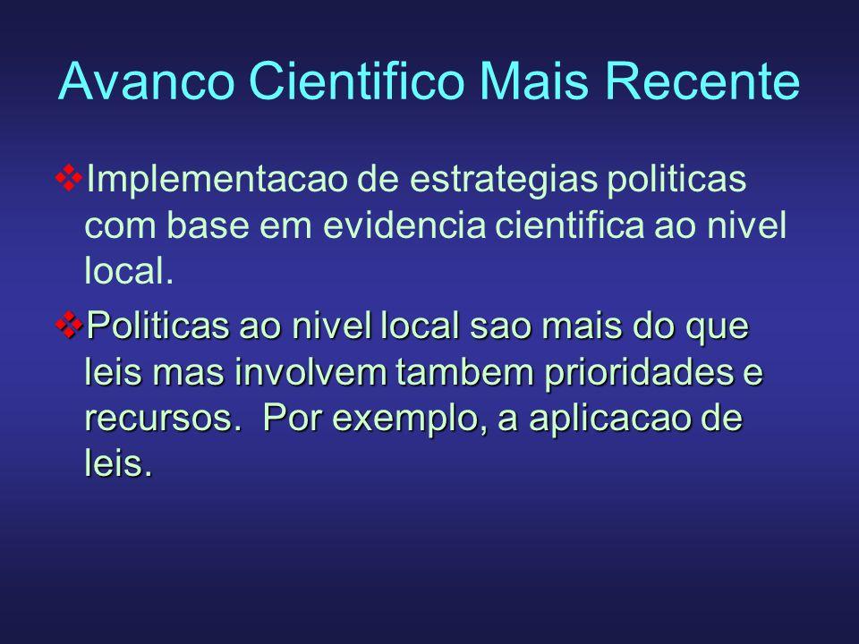 Avanco Cientifico Mais Recente Implementacao de estrategias politicas com base em evidencia cientifica ao nivel local. Politicas ao nivel local sao ma