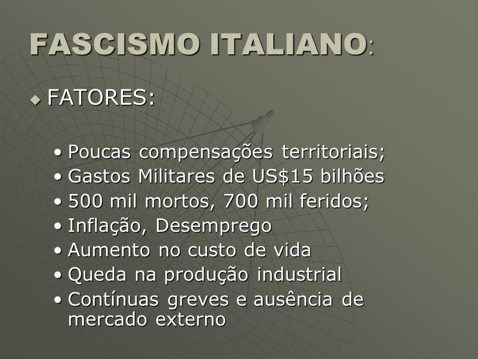 FASCISMO ITALIANO : FATORES: FATORES: Poucas compensações territoriais;Poucas compensações territoriais; Gastos Militares de US$15 bilhõesGastos Milit