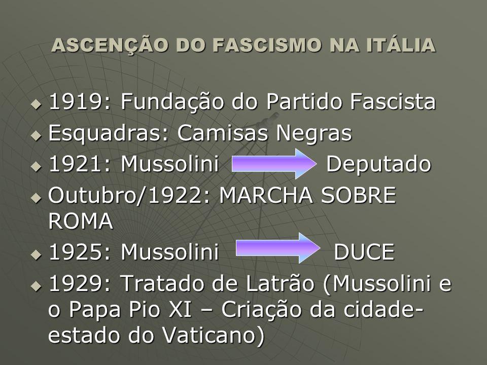 ASCENÇÃO DO FASCISMO NA ITÁLIA 1919: Fundação do Partido Fascista 1919: Fundação do Partido Fascista Esquadras: Camisas Negras Esquadras: Camisas Negr
