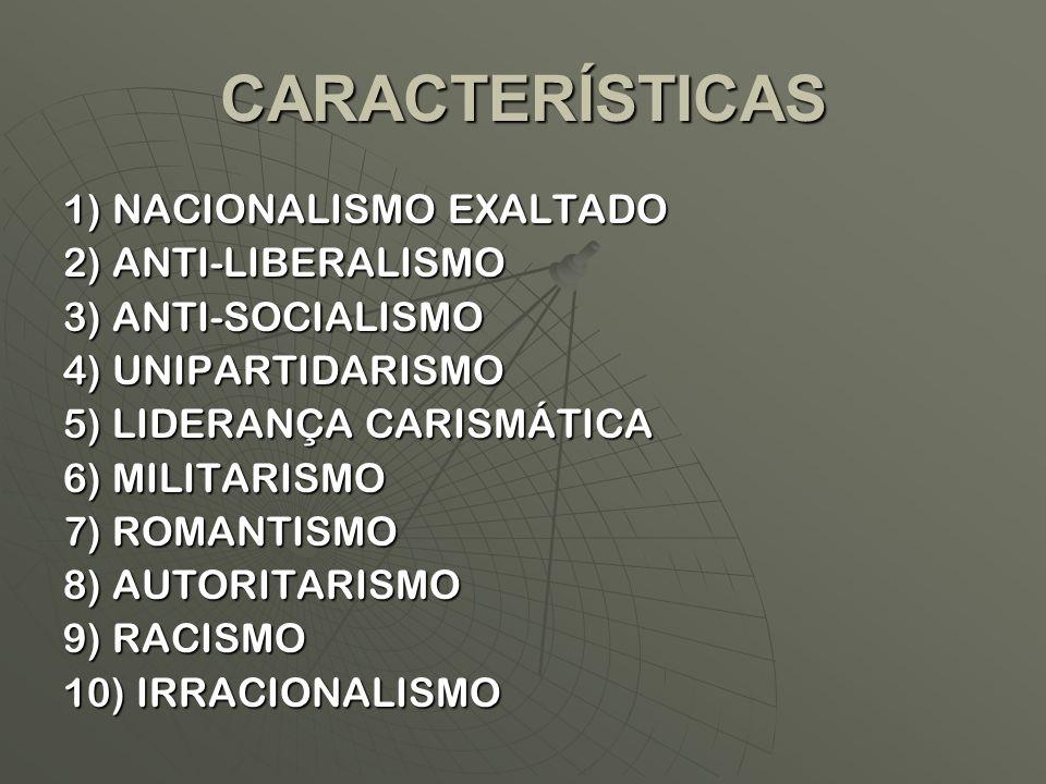 CARACTERÍSTICAS 1) NACIONALISMO EXALTADO 2) ANTI-LIBERALISMO 3) ANTI-SOCIALISMO 4) UNIPARTIDARISMO 5) LIDERANÇA CARISMÁTICA 6) MILITARISMO 7) ROMANTIS