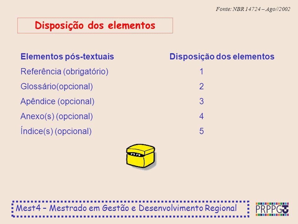 Mest4 – Mestrado em Gestão e Desenvolvimento Regional Fonte: NBR 14724 – Ago//2002 Elementos pós-textuaisDisposição dos elementos Referência (obrigatório)1 Glossário(opcional)2 Apêndice (opcional)3 Anexo(s) (opcional)4 Índice(s) (opcional)5 Disposição dos elementos