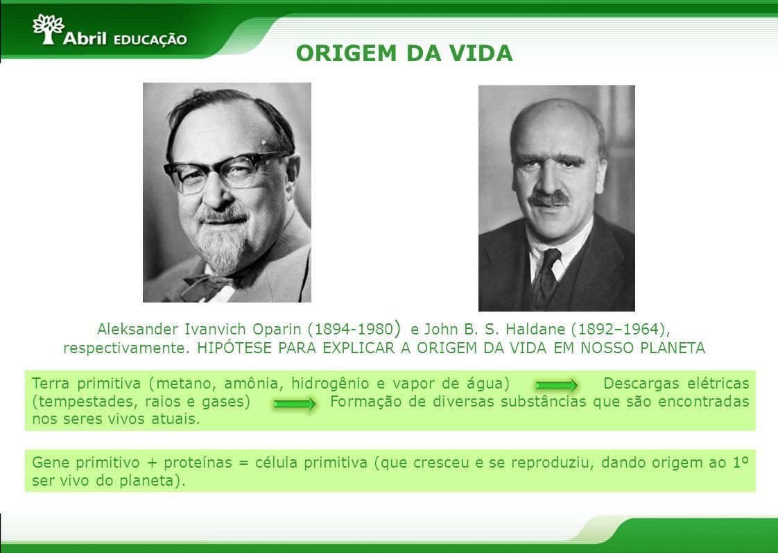 ORIGEM DA VIDA Aleksander Ivanvich Oparin (1894-1980 ) e John B. S. Haldane (1892–1964), respectivamente. HIPÓTESE PARA EXPLICAR A ORIGEM DA VIDA EM N