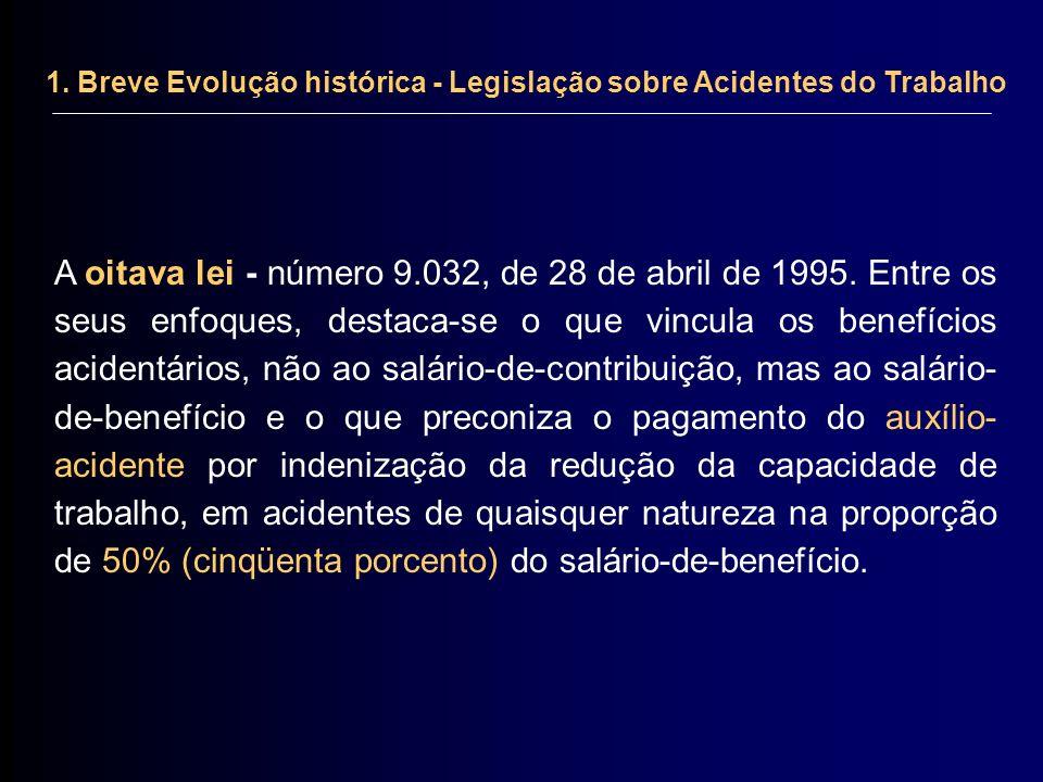 1. Breve Evolução histórica - Legislação sobre Acidentes do Trabalho A oitava lei - número 9.032, de 28 de abril de 1995. Entre os seus enfoques, dest