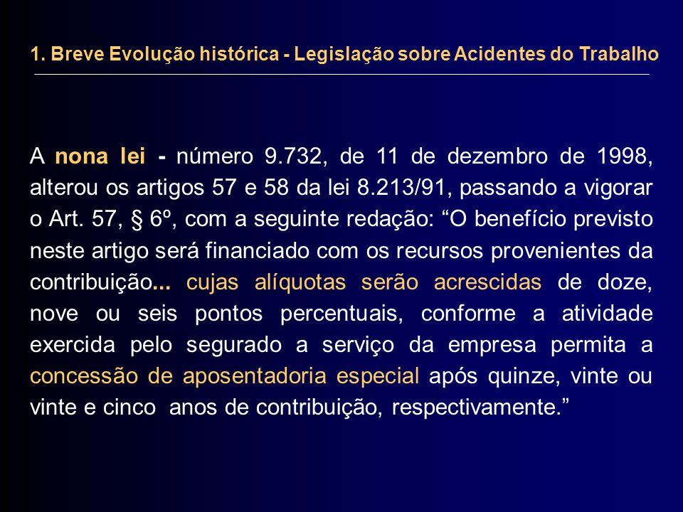 1. Breve Evolução histórica - Legislação sobre Acidentes do Trabalho A nona lei - número 9.732, de 11 de dezembro de 1998, alterou os artigos 57 e 58