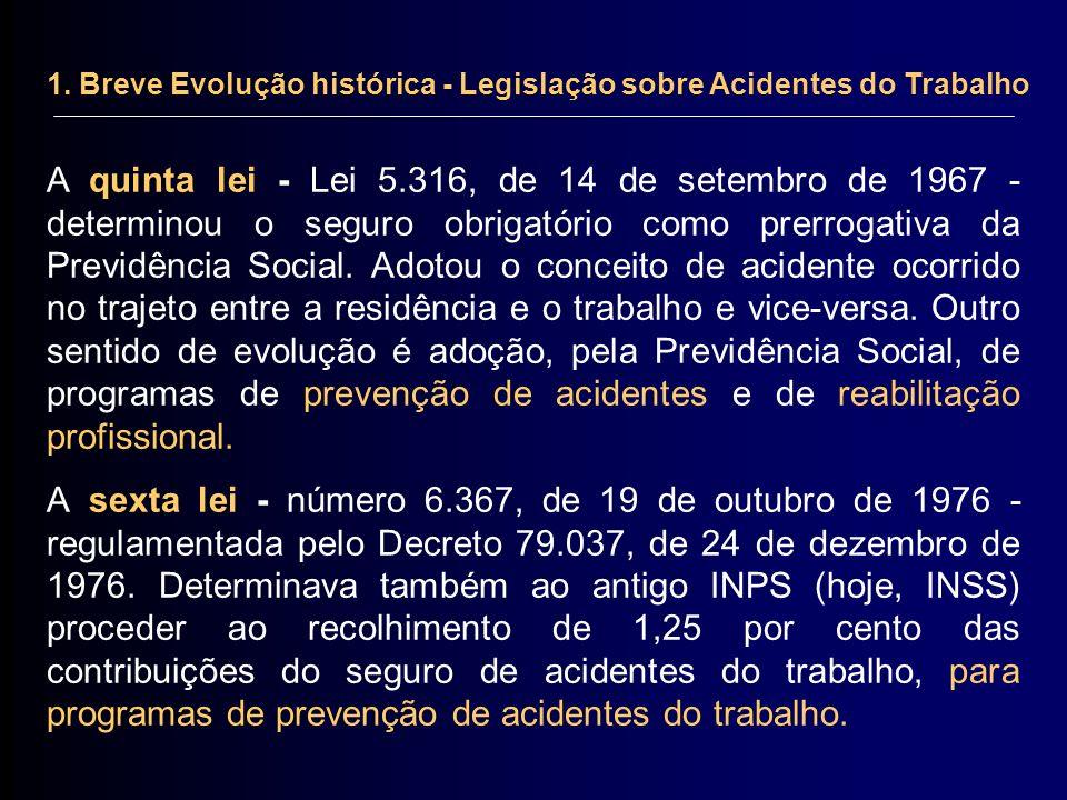 1. Breve Evolução histórica - Legislação sobre Acidentes do Trabalho A quinta lei - Lei 5.316, de 14 de setembro de 1967 - determinou o seguro obrigat