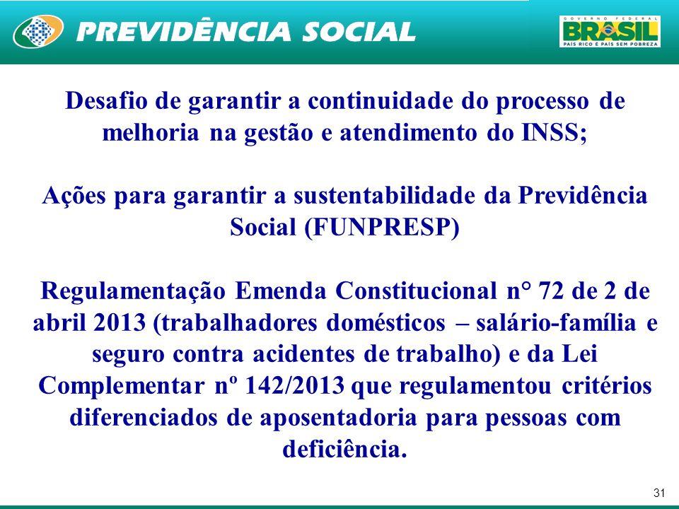 31 Desafio de garantir a continuidade do processo de melhoria na gestão e atendimento do INSS; Ações para garantir a sustentabilidade da Previdência S