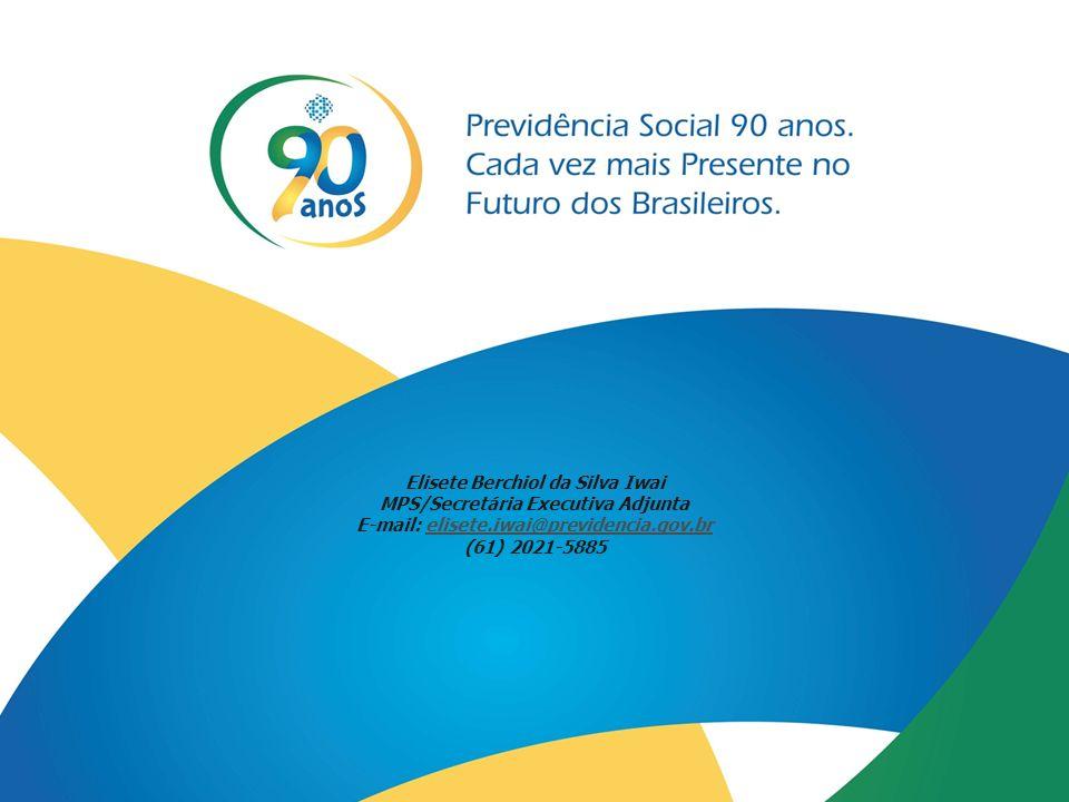 47 Elisete Berchiol da Silva Iwai MPS/Secretária Executiva Adjunta E-mail: elisete.iwai@previdencia.gov.brelisete.iwai@previdencia.gov.br (61) 2021-58