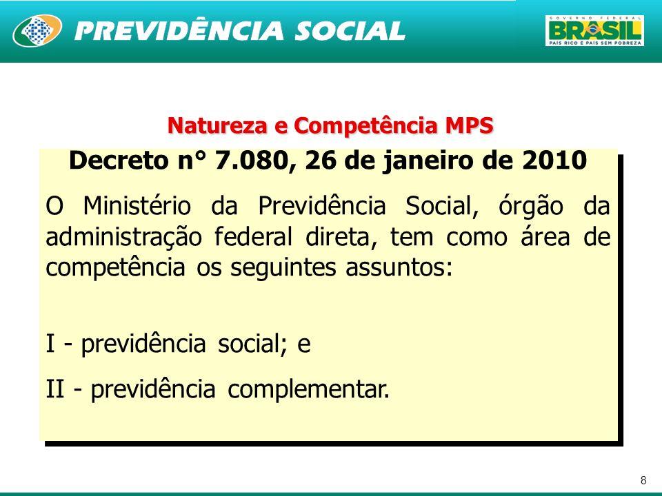8 Natureza e Competência MPS Decreto n° 7.080, 26 de janeiro de 2010 O Ministério da Previdência Social, órgão da administração federal direta, tem co